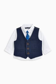 Waistcoat, Shirt And Car Print Tie Set (3mths-6yrs)