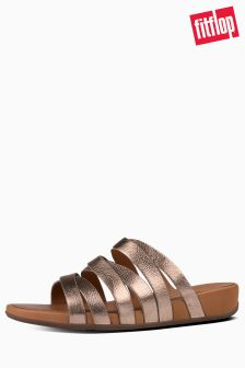 FitFlop™ Bronze Lumy Leather Slide Sandal