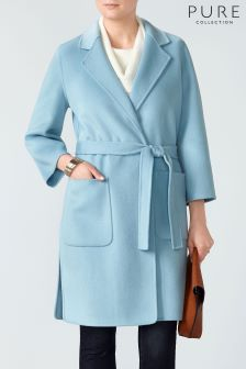 Pure Collection Blue Easy Double Faced Coat