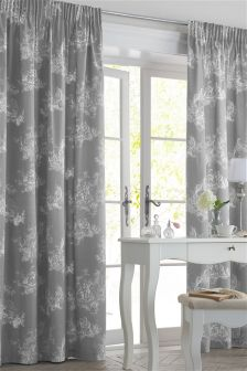 Grey Toile Pencil Pleat Curtains
