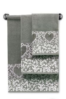 Grey Heart Border Towel
