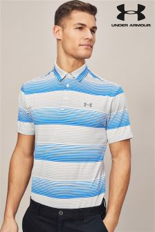 Under Armour Golf Play Off White Stripe Polo