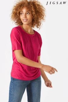 Jigsaw Pink Linen Silk Trim Top