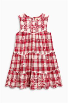Embroidered Check Dress (3-16yrs)