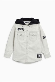 Long Sleeve Denim Badge Shacket (3-16yrs)