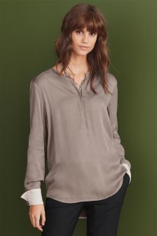 Grandad Collar Blouse