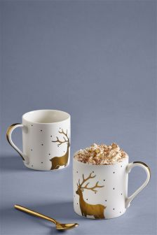 Set Of 2 Metallic Reindeer Mugs