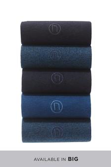 Navy/Black N Embroidered Socks Five Pack