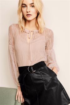 High Neck Lace Layer Top
