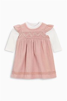 Shirred Cord Dress And Bodysuit (0mths-2yrs)