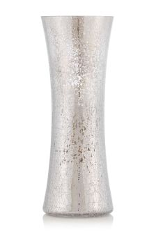 Large Silver Crackle Glass Vase