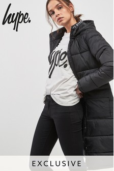 Hype Black Long Line Puffa Coat