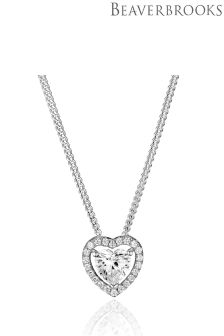 Beaverbrooks Silver Cubic Zirconia Heart Halo Pendant