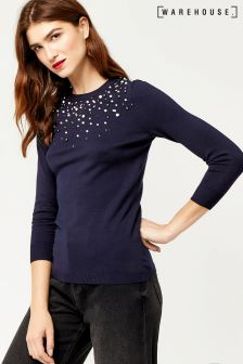 Warehouse Navy Embellished Front Jumper