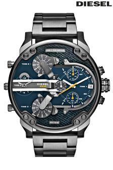 Black Diesel® Mr Daddy Chronograph Denim Watch