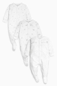 Delicate Elephant Sleepsuits Three Pack (0-12mths)