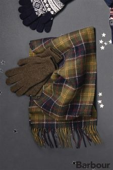 Barbour® Green Scarf And Glove Gift Box