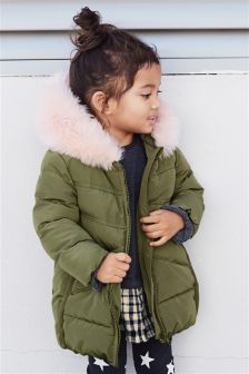 Faux Fur Trim Padded Jacket (3mths-6yrs)