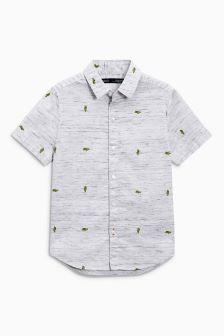 Short Sleeve Cactus Embroidered Shirt (3-16yrs)