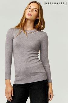Warehouse Grey Embellished Pearl Jumper