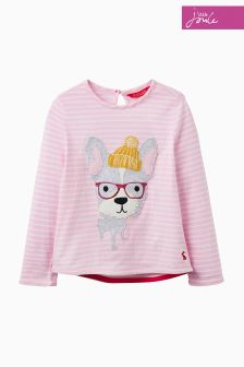 Joules Pink Dog Appilqué Top