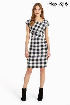 Phase Eight Navy/Ivory Jadyn Check Dress
