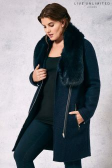 Live Unlimited Navy Bouclé Coat
