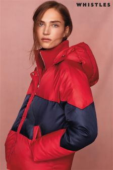 Whistles Red Casual Colourblock Padded Jacket