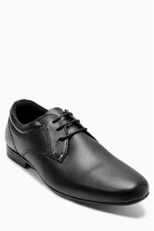 Black Round Toe Lace-Up Shoes (Older Boys)