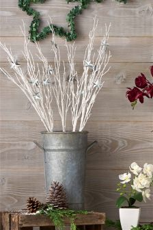 Set Of 5 White Twigs With Galvanised Stars