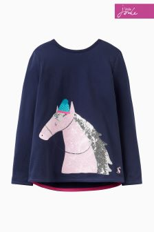 Joules Navy Horse Appliqué Top