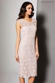 Gina Bacconi Pink Matt Primrose Guipure Dress