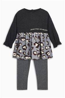 Animal Print Dress And Leggings Set (3mths-6yrs)