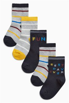 Slogan Socks Five Pack (Younger Boys)