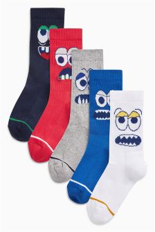 Character Sports Style Socks Five Pack (Older Boys)