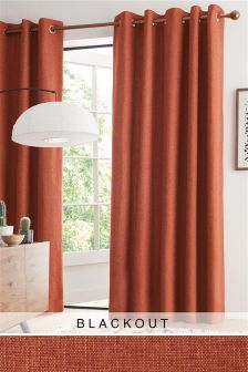 Bouclé Blend Blackout Eyelet Curtains