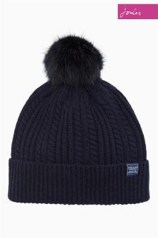 Joules Navy Cable Bobble Hat