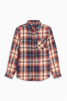 Long Sleeve Bleach Check Shirt (3-16yrs)