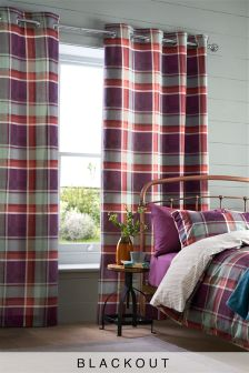 Jardine Check Blackout Lined Eyelet Curtains