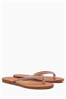 Jewelled Flip Flop Sandals