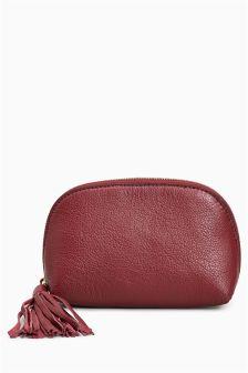 Leather Tassel Cosmetic Bag