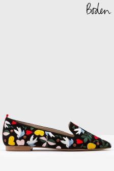 Boden Black Folklore Embroidered Flat