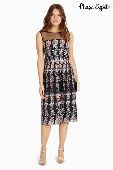 Phase Eight Navy Gabriella Embroidered Dress