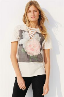 Lace-Up Graphic T-Shirt