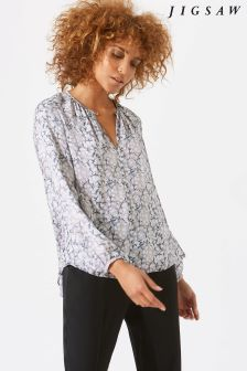 Jigsaw Purple Marble Shore Open Neck Blouse
