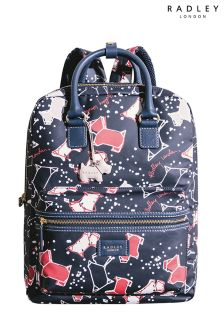 Radley Ink Navy Speckle Dog Large Zip Top Backpack