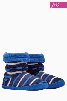 Joules Navy Stripe Fleece Lined Slipper Sock