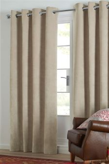 Soft Velour Eyelet Curtains