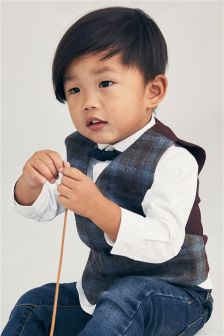 Check Waistcoat, Bow Tie And Shirt Set (3mths-6yrs)