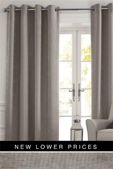 Soft Velour Eyelet Curtains